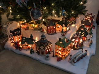 My mom's beautiful ceramic village